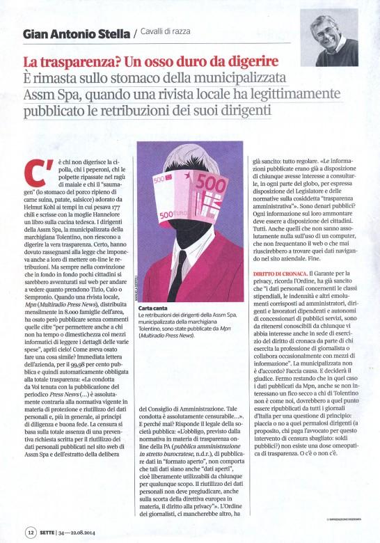 articolo di Gian Antonio Stella su SETTE (Corriere della Sera) del 22 agosto 2014 (ASSM)